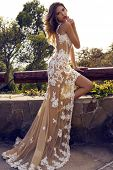 Beautiful Woman In Luxurious Lace Dress Posing At Park