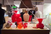 Glass Vases On Display At Homi, Home International Show In Milan, Italy