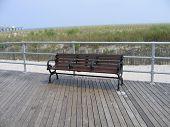 Empty Boardwalk Bench