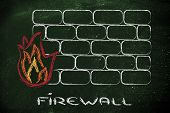 stock photo of intranet  - conceptual design with firewall and security of data on the web - JPG