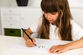 Girl Writing The Abc Alphabet