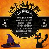 Happy halloween banner with greetings, sample text. Spooky trees, haunted castle, black cat and witc