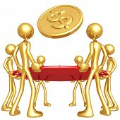 Gold Guys Holding Safety Net Catching Falling Dollar Gold Coin