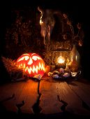 Halloween Still Life. Scary Halloween Pumpkin, Mushroom, Candles, Dried Herbs, Ferns And The Skull O