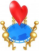 Gold Guys With Safety Net Catching A Heart