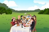 People Eating In A Farm Table