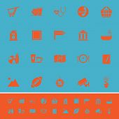 Public Place Sign Color Icons On Light Blue Background