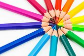 Colorful Rainbow Background With Pencils