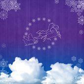 image of sleigh ride  - Background with Santa sleigh - JPG