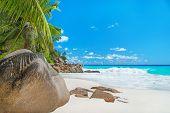 Yacht At Tropical Beach Anse Georgette At Praslin Island, Seychelles