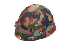 picture of stelles  - swiss army stell helmet with camouflaged cover - JPG