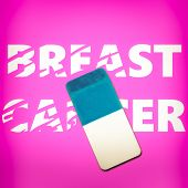 Eraser erasing the words BREAST CANCER on a pink background