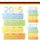 Set Of German 2015, 2016, 2017 Color Vector Calendars