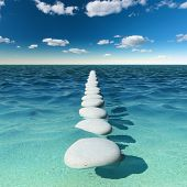 Abstract road of stones in the sea
