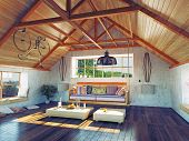 stock photo of attic  - beautiful modern attic interior with hanging sofa - JPG