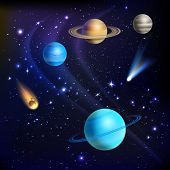 pic of meteor  - Space background with solar system planets comets and meteors vector illustration - JPG