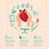image of heart surgery  - Cardiac surgery design concept wit human hands holding heart and operation icons vector illustration - JPG