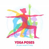 stock photo of fitness-girl  - Yoga fitness concept with girl silhouettes in different poses vector illustration - JPG