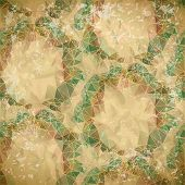 Abstract seamless pattern of polygonal rings on old paper