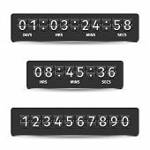 stock photo of countdown  - Countdown clock timer analog display mechanical time indicator black vector illustration - JPG
