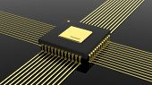 Computer microchip CPU isolated on black background