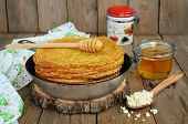 Pancakes With Cottage Cheese On A Wooden Table