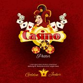 stock photo of dice  - Casino poster with dice chips cards and smiling jocker face vector illustration - JPG