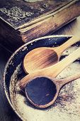 stock photo of wooden table  - Wooden kitchen utensils on the table - JPG
