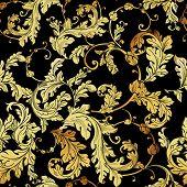 Luxury golden seamless pattern. Floral  background