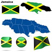 Jamaica set. Detailed country shape with region borders, flags and icons isolated on white background.