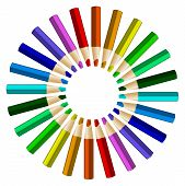 pic of color wheel  - Color pencils in arrange in color wheel colors on white background - JPG