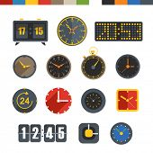 Different slyles of clock vector collection isolated on white