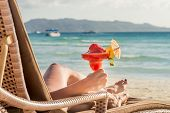 stock photo of summer beach  - young beautiful woman enjoying summer vacation - JPG