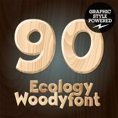 Vector font set of wood ecology font. Numbers 9 0