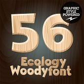 Vector font set of wood ecology font. Numbers 5 6