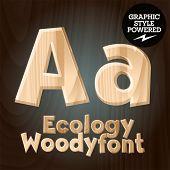 Vector font set of wood ecology font. Letter A