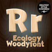 Vector font set of wood ecology font. Letter R