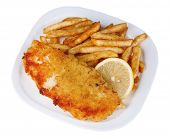 Breaded fried fish fillet and potatoes with sliced lemon on plate isolated on white