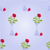 stock photo of blue rose  - Seamless texture vase with  rose blue background vector illustration - JPG