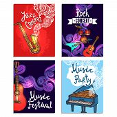 picture of rocking  - Jazz rock classic concert mini poster sketch set with music instruments isolated vector illustration - JPG