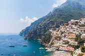 View Of Positano And The Mediterranean Sea