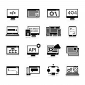 picture of analysis  - Programming data analysis and processing icons black set isolated vector illustration - JPG