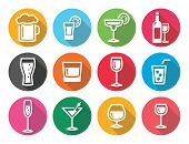 Drink alcohol beverage round flat design icons set