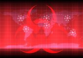 World Map With Bio Hazard Symblo  On Red Color Background