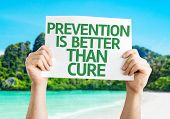 Prevention is Better than Cure card with beach background