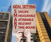 Goal Setting - SMART card with urban background