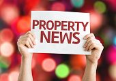 Property News card with colorful background with defocused lights