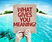 What Gives You Meaning? card with beach background