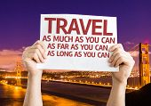 Travel As Much/Far/Long As You Can card with Golden Gate Bridge background