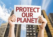 Protect Our Planet card with urban background